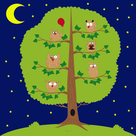 squint: owl sitting at night on the tree, moon and stars, funny owls. Illustration