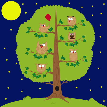 nocturnal: owl sitting at night on the tree, moon and stars, funny owls. Illustration