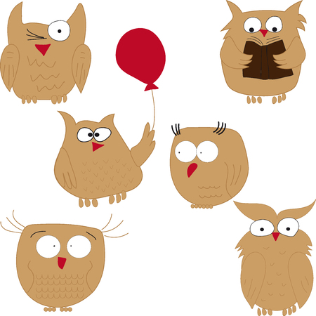 nocturnal animal: Owls. Set of funny owls. Owl reading, owl balloon, owl, owls are stupid. Illustration