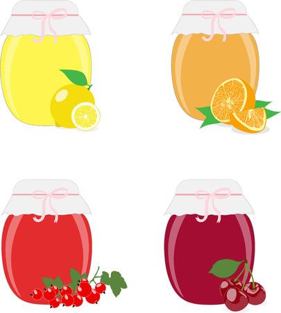 food preservation: Jam jars, jam, lemons, oranges, currants and cherries. Isolated On White Background Vector Illustration