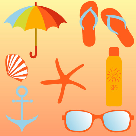 to spend the summer: Beach set, items for a beach holiday.