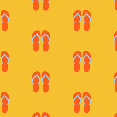 beach slippers: Slippers, seamless pattern on yellow background. Beach slippers summer symbol. Beach slippers for traveling design.