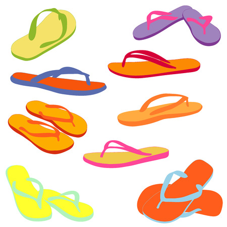 Pair of flip-flops, colored silhouettes isolated on a white background. Vector illustration.