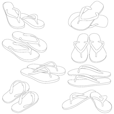 swimming shoes: Pair of flip-flops, vector silhouette, isolated on a white background. Vector illustration. Illustration