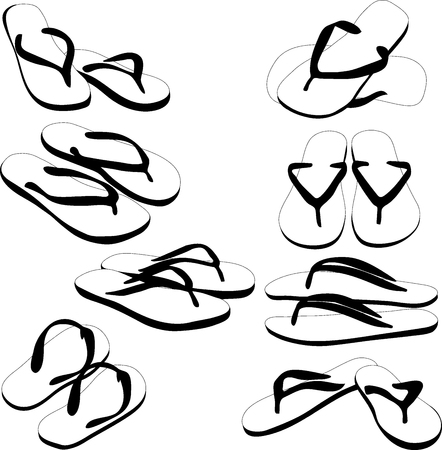flipflops: Pair of flip-flops, vector silhouette, isolated on a white background. Vector illustration. Illustration
