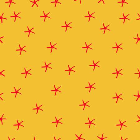 Sea star vector hand drawn vector seamless pattern. Marine decorative background Illustration
