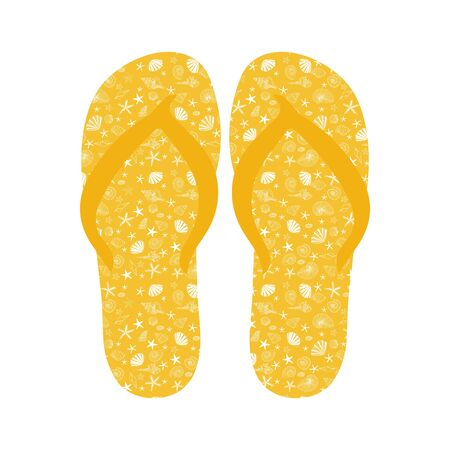 beach slippers: Flip flops, Slippers with seashell pattern on yellow background. Beach slippers summer symbol. Beach slippers for traveling design.