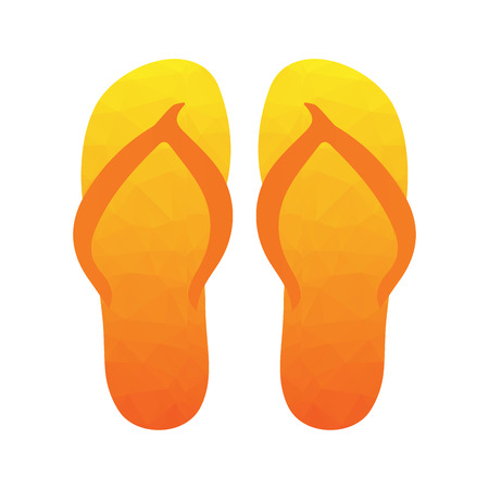beach slippers: Flip flops, Slippers with polygonal triangular pattern. Beach slippers summer symbol. Beach slippers for traveling design. Illustration