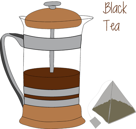 brewing: French press - a simple device for brewing tea and coffee. Outline sketch with color and shading in separate layers isolated on white background.