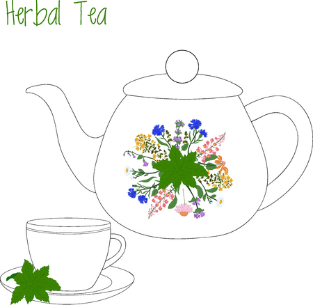 full willow: teapot with tea cups, herbal tea, green tea, illustration.
