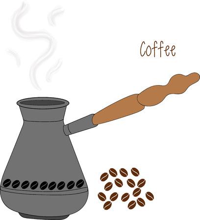 coffee pot: Turkish fishborn coffee pot prepared with coffee roasting. Illustration