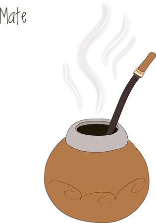 mate: Mate tea illustration, calabash illustration