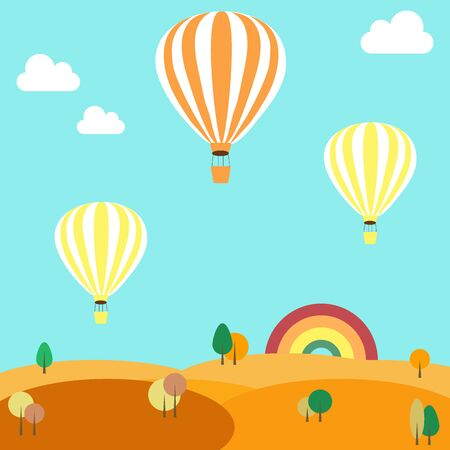 rolling landscapes: Beautiful autumn rolling landscapes with colorful hot air balloons Illustration