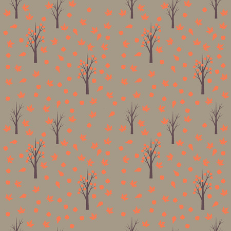autumn leafs: Seamless pattern with autumn leafs and trees Illustration