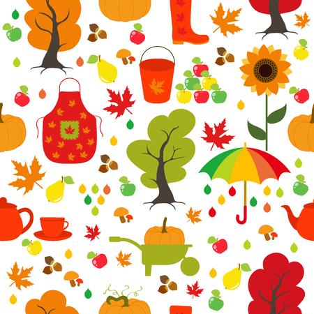 Seamless Autumn pattern, background. Set design element.