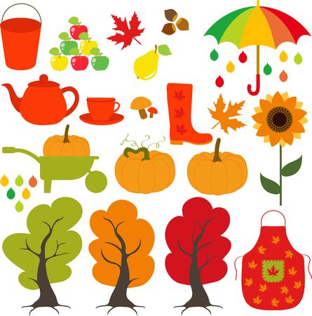 Autumn set, leaves, trees, mushrooms, nuts, pumpkin, apples, pears, rain, cloud, maple, sunflower, boots