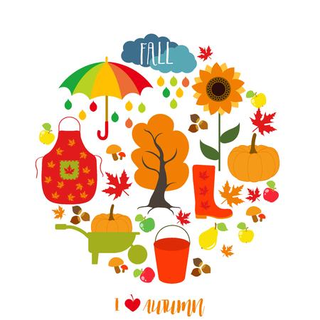 Autumn pattern, background. Set design element, vector illustration Illustration
