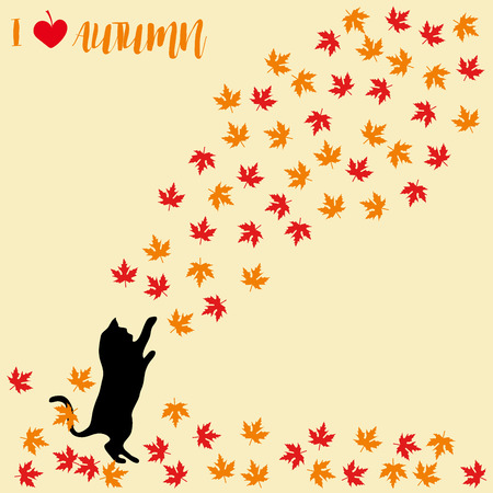 Cat and falling autumn leaves. Maple leaf, autumnal. Cats silhouettes Illustration