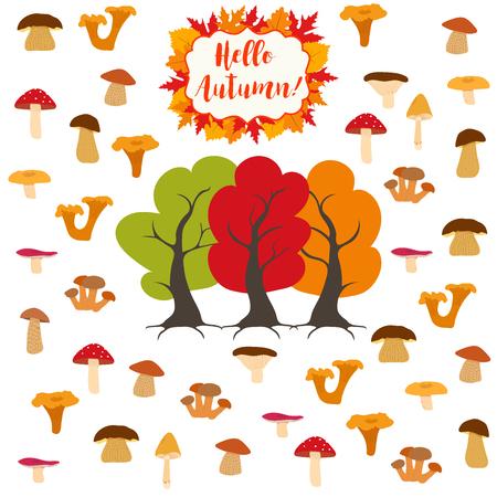 Mushroom, edible and inedible mushrooms, autumn trees and mushrooms. illustration. Illustration