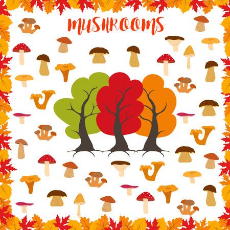 Mushrooms, autumn pattern, frame made of leaves, autumn trees and mushrooms. Vector illustration. Illustration