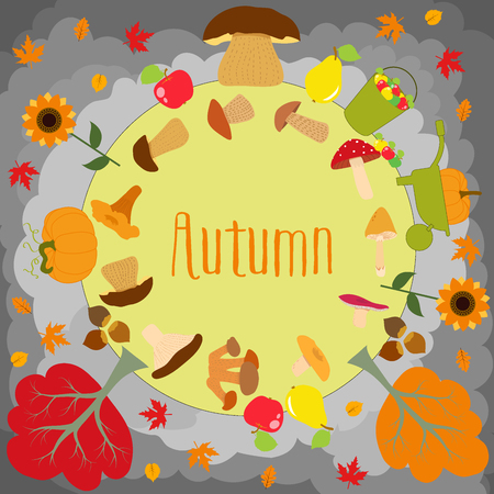 inedible: Autumn round with cute leaves, mushrooms, pumpkin and other autumnal design elements. Autumn pattern, background. Vector illustration.