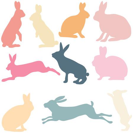 Kaninchen Silhouetten auf dem weißen Hintergrund, Vektor-Illustration