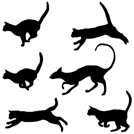 caress: Vector collection of cat silhouettes, vector illustration