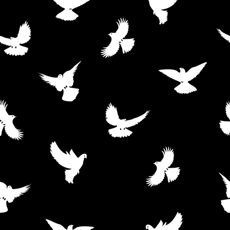 Birds silhouettes - flying  pattern. Black and white