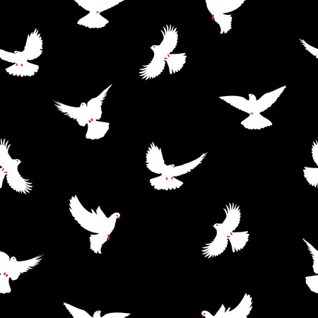 red beak: Birds silhouettes - flying seamless pattern. Dove with a red beak and legs.