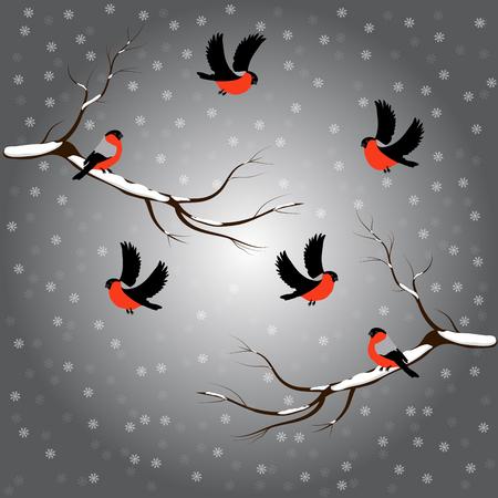 Bullfinch on branch, snow, merry christmas, gray background. Winter vector illustration Ilustracja
