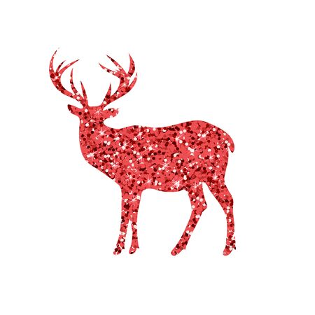 sequins: deer with red glitter, silhouette, isolated vector illustration Illustration