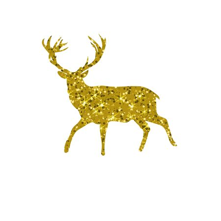 gold deer with glitter, silhouette isolated vector illustration