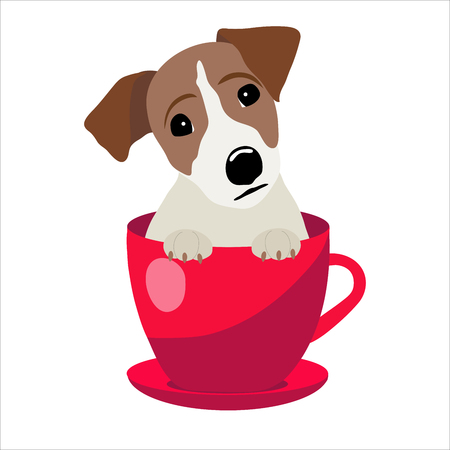 Jack Russell Terrier in red teacup, illustration, set for baby fashion.