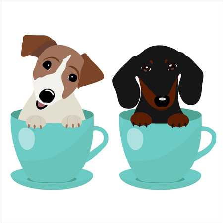 Jack Russell Terrier and Dachshund dog in blue teacup, illustration, set for baby fashion. Иллюстрация