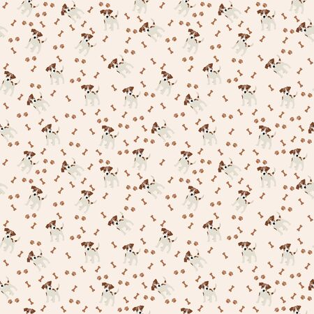 paw russell: Jack Russell Terrier Vector Seamless pattern. Dog, bone, paw print