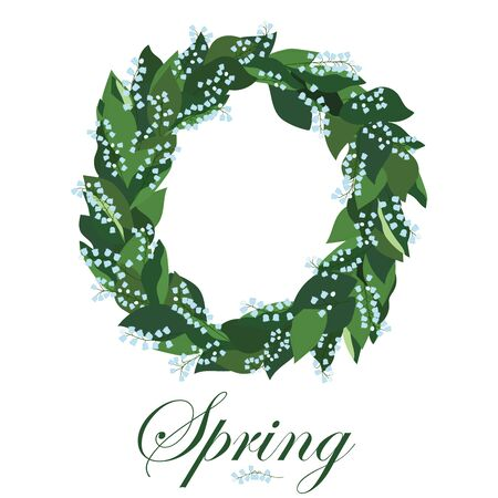 Floral wreath with lilies of the valley, spring wreath.