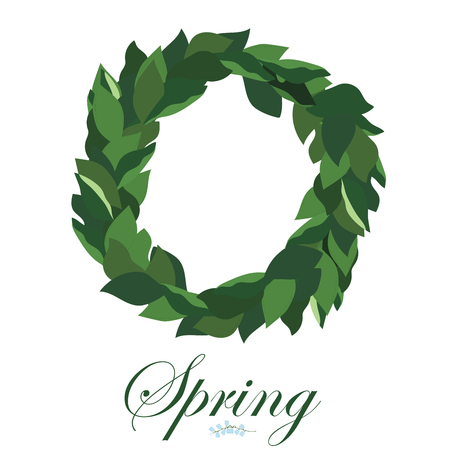 Floral wreath of leaves of Lily of the valley, spring wreath.