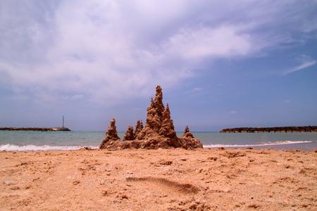 ビーチの砂の城 写真素材
