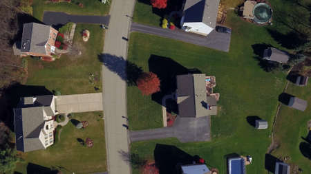 residential neighborhood: An aerial view looking straight down on a typical western Pennsylvania residential neighborhood in late Autumn.