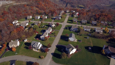 residential neighborhood: An aerial shot of a typical western Pennsylvania residential neighborhood in late Autumn. Editorial