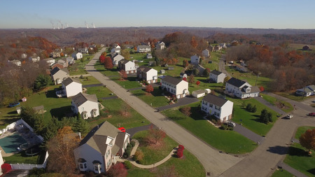 An aerial shot of a typical western Pennsylvania residential neighborhood in late Autumn. Editorial