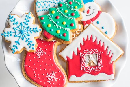 New Year gingerbread, Christmas sweets, cookies Stock Photo