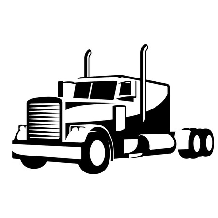 Black and White Heavy Truck Illustration