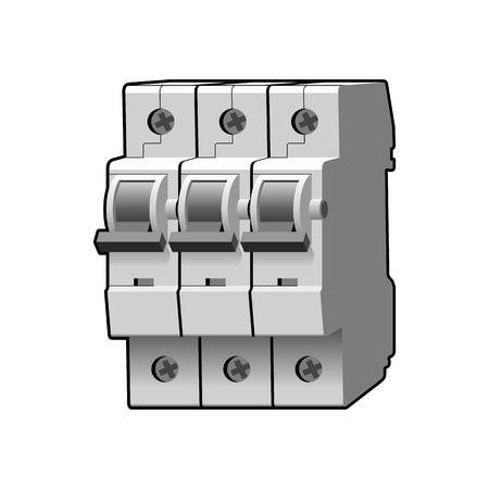 breaker: Molded case circuit breaker. Multi-pole. Modular. Miniature. Vector illustration