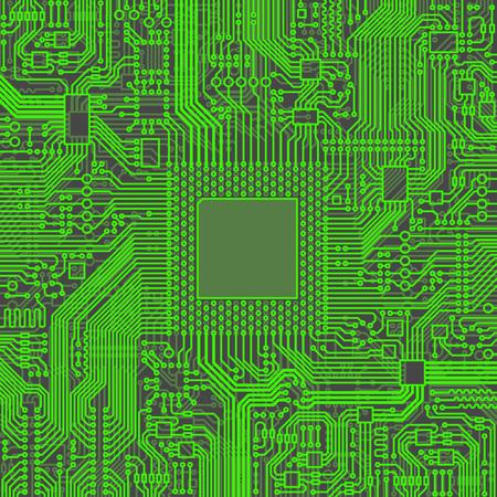 transistor: ilustración vectorial de la CPU microprocesador Microchip