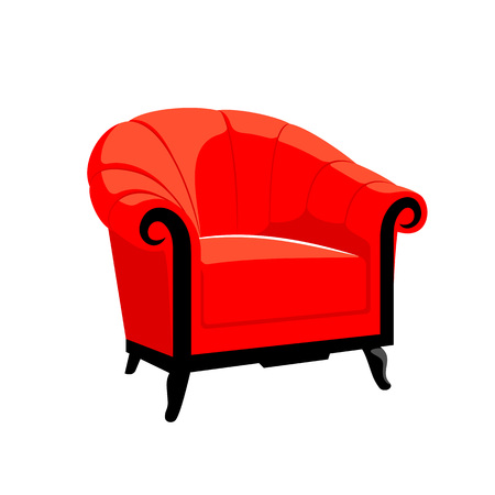 baroque furniture: Classic Royal armchair. Classic French Baroque furniture. Rococo armchair vector illustration isolated on white