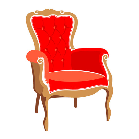 wood chair: Barocco red armchair vector illustration