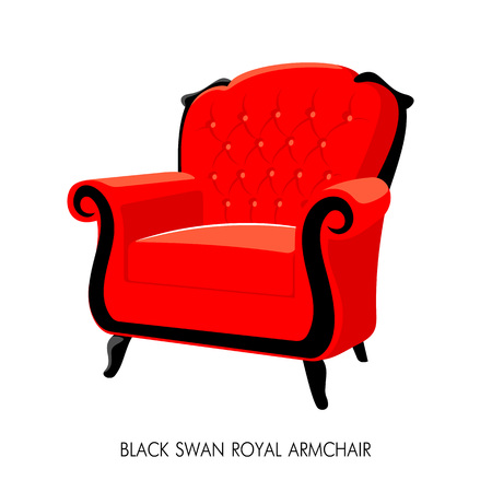 Black Swan Royal armchair. French Baroque furniture. Rococo armchair vector illustration isolated on white Illustration