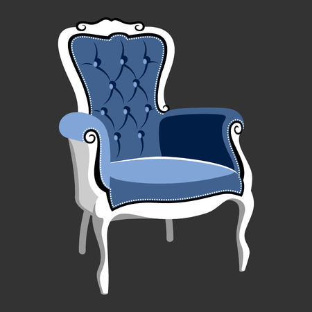 Riverside Baroque Royal armchair. Classic French furniture. Rococo armchair vector illustration isolated on gray