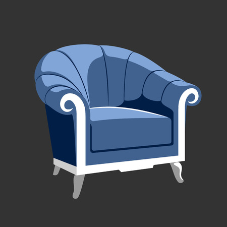 baroque furniture: Riverside Classic Royal armchair. French Baroque furniture. Rococo armchair vector illustration isolated on gray
